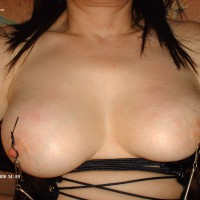 Nipple Clammed - Black Hair, Bondage, Hard Nipple , Big Breasts, Nipple Bondage, Fetish, Huge Breasts, Nipple Clips, Black Corset, Close-up Tits, Nipple Stimulation, Nipple Tease
