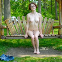 Short Red Hair And Glasses Sitting Nude On Bench Swing - Nude Outdoors, Red Hair, Naked Girl, Nude Amateur , Thin Petite Body With Belly Tattoo, Nude On Rustic Swing, Student Look With Glasses, Puffy Areolas On Medium Boobs, Outdoor Frontal Nude, Nude In Nature, Sitting In Nature, Bare Feet, Sitting On A Swing