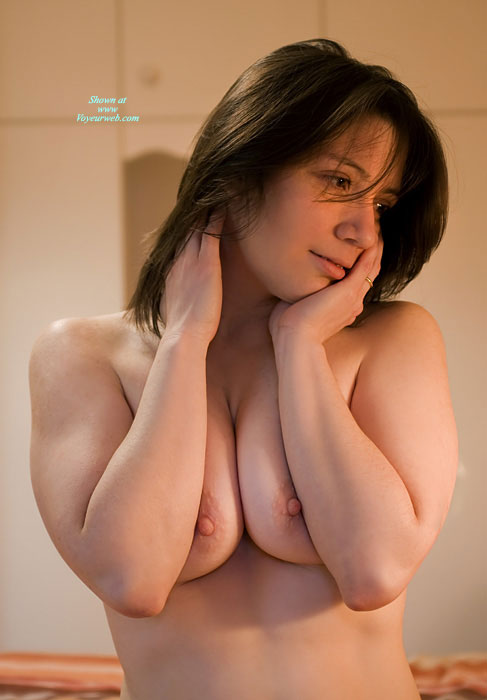 Topless Portrait - Brown Hair, Huge Tits, Topless , Pushed Together Tits, Sexy Pose, Peeking Nipples, Semi Erect Nipples, Squeezed Tits, Topless Girl