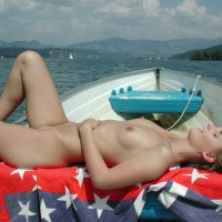 Naked In The Boat - Blonde Hair, Naked Girl, Nude Amateur , Hand On Belly, Boating Naked, Lying In Boat, Lying On Her Back, Relaxing On The Lake, Enjoying The Sun, Girl & Boat, Dishwater Blonde, Very Relaxed, Naked On A Rowboat, Nude Sunbathing