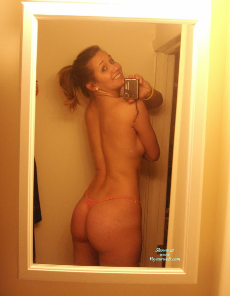 Girl Next Door Body And Smile - Self Shot , In The Mirror, Mirror Shot, Pink Thong, Cute Smile, Self Photo, Girl In Washroom