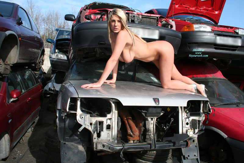 Nude In Auto Salvage Yard - Blonde Hair, Huge Tits, Naked Girl, Nude Amateur , Crawling Naked On All Fours, Junk Yard Doggie Pose, Scrapyard Fun, Doggie Style, Crawling On The Hood Of A Truck, On All Fours, Pouting Towards The Camera