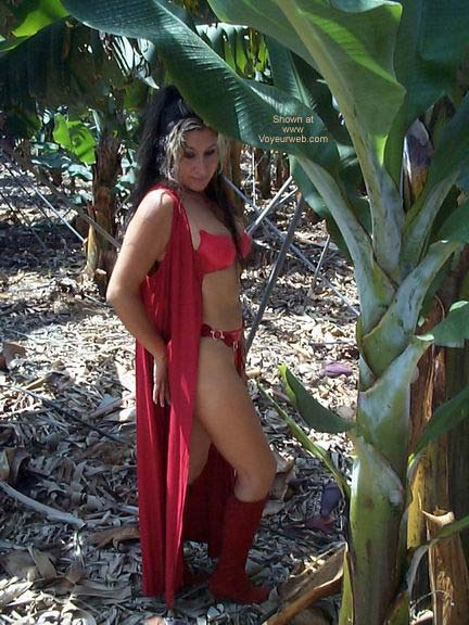 Pic #1 Red Lingerie in a Banana Plantation!!