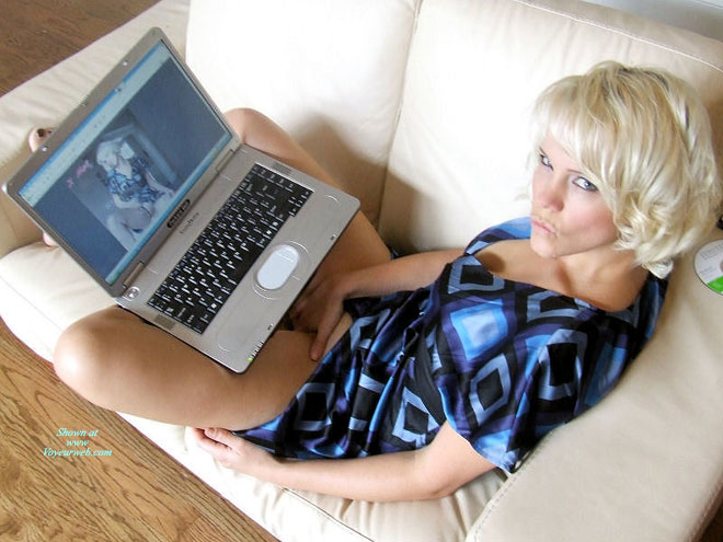 Girl On Computer - Blonde Hair, Blue Eyes, Pale Skin , Blue And Black Patterned Blouse, Pale Skin, Hand On Pussy, Sexy Touching, Masturbating While Looking At Own Picture, Pursed Lips, Asking For Internetsex, Pouting Mouth