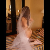 Wedding Night - Brunette Hair, Round Ass, Naked Girl, Nude Amateur , White Fishnet Stockings, Naked On A Bed In White Lace, White Lace And Silk, Just Her Wedding Veil, White Fishnet Brunnet Nude On Bed, Hidden Nude Brunette, Hotel Room, Bride Unveiled