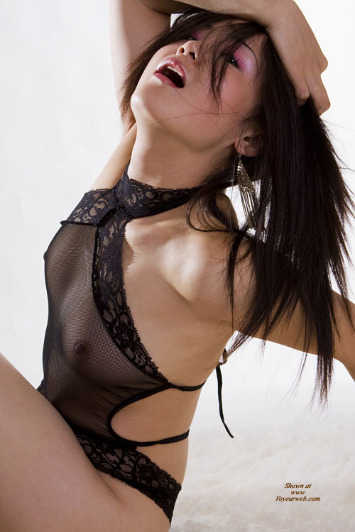 "Asian Posing ""O"" Face - Black Hair , Sheer Lingere', Over Dramatic Pose, Shear Black Camisol/choaker, Art Shot, Asian Leaning Back, Head Back Open Mouth, Small Titties, Dressed In Net"