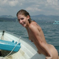 Swim Naked In Lake - Dark Hair, Erect Nipples, Small Tits , Small Pointy Tits, Tattooed Shoulder, Skinny Dipping, Rowboat On Lake, Tiny Tits, Boating Naked, Thin White Girl, Wet Dark Hair, Bright Smile