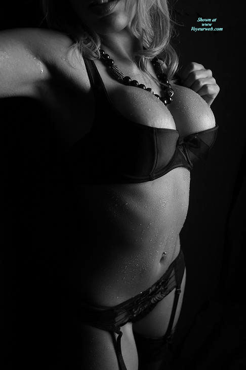 Bursting Out Of Bra In Black And White - Big Tits, Large Breasts, Stockings , Beautiful Bust Line In Black, Black Shelf Bra, Black Push Up Bra, Black Garter Belt, Black And White, Pierced Belly Button, Big Tits In Bra, Cup Is Definately Full, Standing With Chest Out, Wet Skin