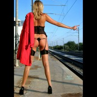 Nude At A Train Station - Blonde Hair, Long Hair, Long Legs, Naked Girl, Nude Amateur, Sexy Legs , Black Pumps, Red Trenchcoat, Naked At The Train Stop, Waiting For The Train, Eip Garter And Stockings, Corset, Long Lean Legs, Sexy In Stockings