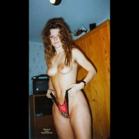 Girlfriend Standing Topless - Long Hair, Red Hair, Small Tits, Topless , Pulling On Panties, Red Curly Hair, Standing Up Indoors, Black And Red Panties, Two Finger Rings, 80's Models, Round Tits, Long Red Wavy Hair