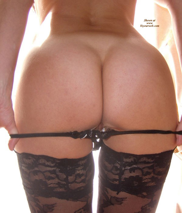 Exposing The Ass, Removing The Thong - Round Ass, Stockings, Sexy Ass , Pulling Down String, Bell Shaped Ass, Pulling Off Panties, Black Lace Patterned Thigh-high Stockings, Black G-string, Sliding Thong Off (from Rear)