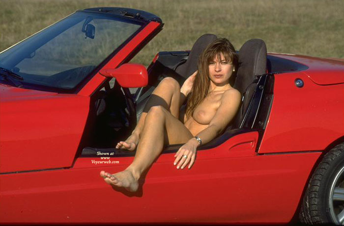 Naked Girl In Red BMW Z1 - Brown Hair, Dark Hair, Long Hair, Red Hair, Sexy Legs , Slim Legs, Hot Chick In Corvette, Naked In Red Sportscar, Girl & Car, Red Sports Car, In Red Car