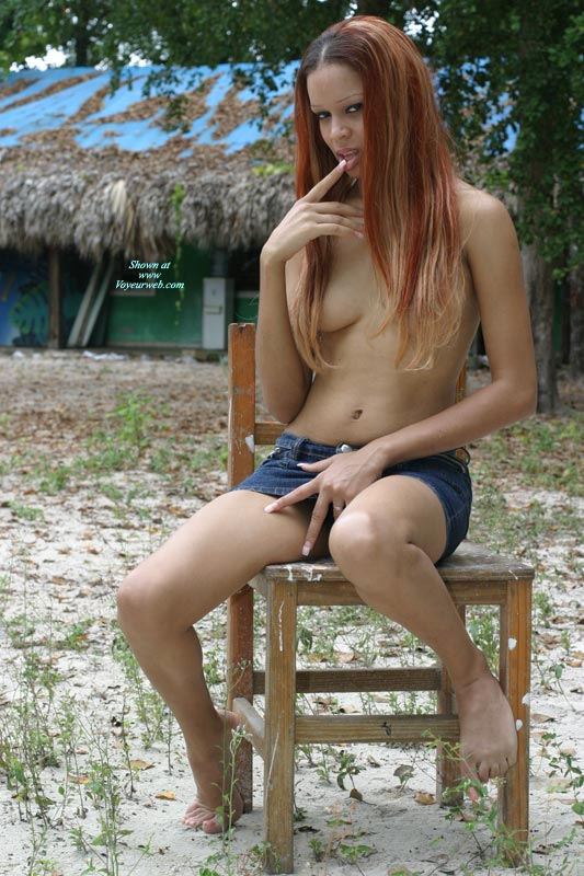 Sexy Exotic Women - Long Hair, Red Hair, Topless , Finger In Mouth, Hand At Crotch, Denim Mini Skirt, Tits Covered By Hair, Hair Covering Nipples, Short Skirt, Bare Feet, Long Thin Body, Topless Amazon Babe, Long Red Hair