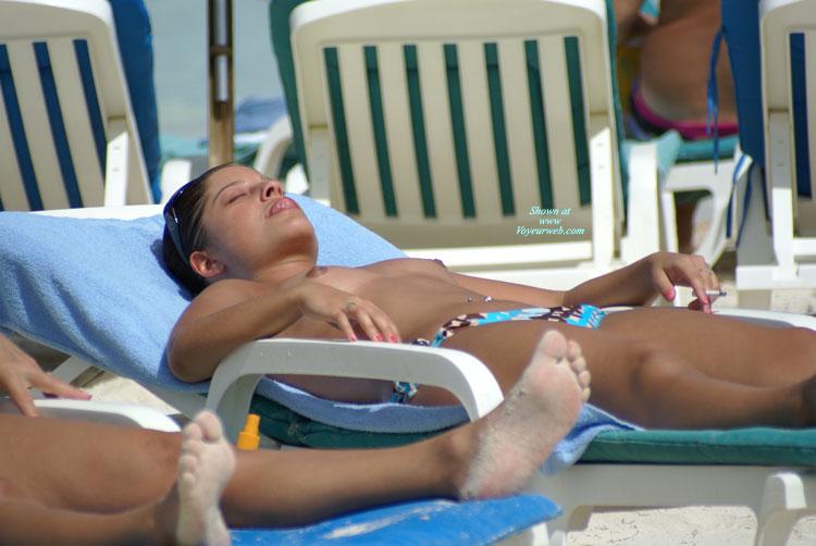 Beach Voyeur - Topless, Beach Voyeur , Sandy Feet, Suntanning, Sunbathing Woman, At The Beach, Topless On Chaise Lounge