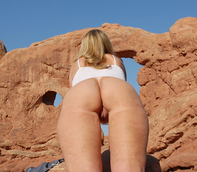 Derrier Shot From Below - Blonde Hair, Round Ass, Shaved Pussy, Trimmed Pussy , Naked Outside, Twat Shot, Backside View, Outdoor Ass And Pussy, Great Outdoors, G-string Tanline, Labia Major Visible Thru Legs, Round Ass Shaved Pussy
