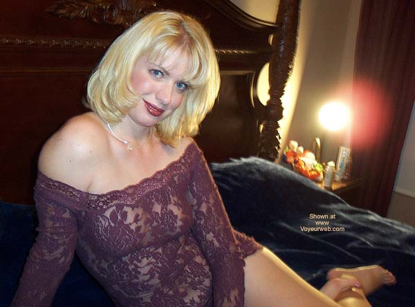 Blonde Girl On Her Bed - Blonde Hair, Milf, Sexy Lingerie , Blonde Girl On Her Bed, Seethrough, Lingerie, Blonde Hair Blue Eyes, Milf, Purple Lace See Through Outfit
