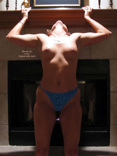 In Front Of Fireplace , In Front Of Fireplace, Lit From Above, Back Arched, Topless With Blue Panties