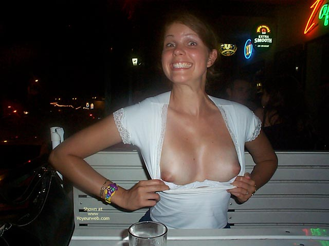 Showing Breasts In Public - Natural Tits, Nude In Public , Showing Breasts In Public, Natural Tits, Boob Flash, Big Smile, In Public, White Top Pulled Down, White Top