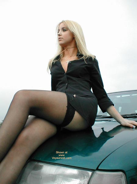 Pic #1 Sexy Blonde Spread OverCar
