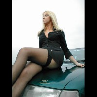 Girl On A Car - Black Dress, Blonde Hair, Long Legs, Stockings , Girl On A Car, Black Stockings, Hood Ornament, Blonde Hair, Black Dress, Long Legs