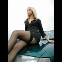 Girl On A Car - Black Dress, Blonde Hair, Long Legs, Stockings , Girl On A Car, Black Stockings, Hood Ornament, Blonde Hair, Black Dress, Long Legs