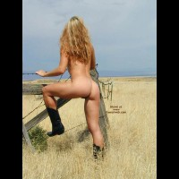 Nude Girl In A Field - Blonde Hair, Boots, Rear View , Nude Girl In A Field, Black Boots, Standing Nude In A Field, Blonde Hair, Rear Shot