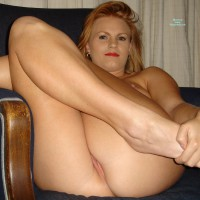 Milf's Pussy Peeks While Sitting With Legs Pulled Up - Blonde Hair, Milf, Shaved Pussy , Sitting Legs Up, Indoor Ass And Pussy, Strawberry Blond Hair, Peeking Pussy, Peek A Boo, Indoors On Chair, Naked On Chair, Sexy Milf Shot, Dark Eyes Red Lips, Shaven Pussy Peeking From Butt