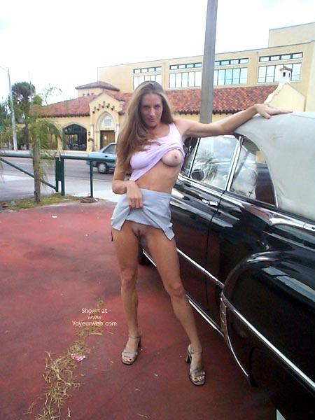 Showing Pussy In Public - Long Hair, Skirt , Showing Pussy In Public, Long Blonde Hair, Exhibitonist Girl, Mini Skirt, Flashy Boobs