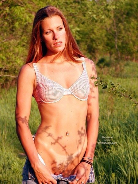 Bra In A Pasture - Exposed In Public, Tan Lines , Bra In A Pasture, Tan Lines, Pussy In Denims Exposed, Tits In Bra