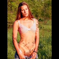 Bra In A Pasture - Exposed In Public, Tan Lines , Bra In A Pasture, Tan Lines, Pussy In Denims Exposed, Tits In Bra