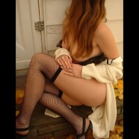 Curvy Woman On Stair - Stockings , Curvy Woman On Stair, Voluptious Fall, Fishnet Stockings