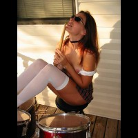White Stockings - Long Hair, Skirt, Stockings, Sunglasses , White Stockings, Sitting On A Stool, Sunglasses, Long Red Hair, Playing Drums, Short Skirt, Plaid Skirt, Choker