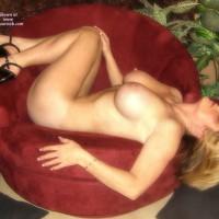 Big Breast - Blonde Hair, Erect Nipples, Heels, Naked Girl, Nude Amateur, Nude Wife , Black Platform Heels, Gold Ankle Chain, Nude Lying Sideways On Velvet Chair, Lying On Her Back, Black Slapper Shoes