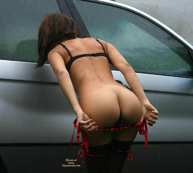 Flashing Ass Outdoors - Flashing Ass, Flashing, Stockings , Black & Red Stockings, Mooning Outside, Red Ribboned Highlighted Black Stockings, Black Bra, Pulling Panties Down Outside, Stripping Next To Wet Car, Black & Red Panties, Red Ribbon Highlighted Black Panties, Red & Black Panties