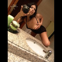 Brunette Self Photo In Bathroom Exposing Breast Knee On Counter - Brunette Hair, Firm Tits, Self Shot, Small Tits, Topless , Marble Counter Top, Self Portrait In Mirror, Nice Small Firm Tits, Topless In Bathroom Mirror, Bathroom, Holding Boob, Bathroom Pics, Self Shot Holding Breast, Black Lace Teddy