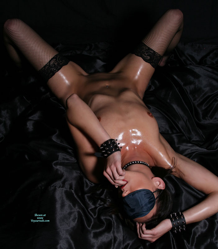 Naked Brunette With Blindfolded Eyes And Sub Gear - Brunette Hair, Small Breasts, Spread Legs , Spread Legs In Fishnets, Blindfolded With Sub Gear, Thin With Erect Nipples, Small Natural Breasts, Studded Leather Bracelets, Oiled Body With Fishnets, Thin Body, Fingers In Mouth, Black Lace-top Fishnet Thigh-highs, Prominent Rib Cage, Studded Leather Choker, One Arm Above Head