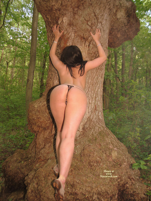 Nude Amateur Model Leaning Against A Tree - Long Legs, Round Ass, Naked Girl, Nude Amateur, Sexy Ass , Sexy Toned Back, Black Crochet Pantys, Woman Hips, Long Shapley Legs, Rear Shot, Muscular Legs, Heart Shaped Ass
