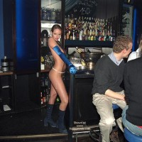 Verona, Shaved Beauty in a Public Bar