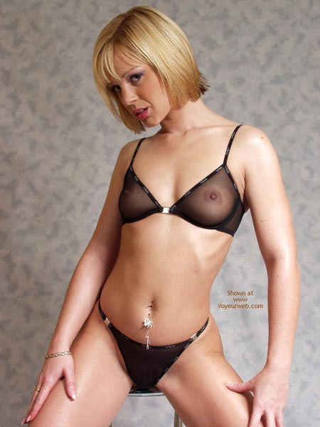 Belly Button Jewelry - Bra, See Through, Sexy Lingerie , Belly Button Jewelry, Black Panties And Bra, Sheer Black Bra, See Thru, Short Haired Blonde, See-through Black Lingerie, Bellybutton Jewelry, Small Pert Boobs With Hard Nipples