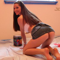 PANTYLESS PAINTER - Long Hair, Long Legs , Smiling Charmingly To Camera, Pantyless, From Behind, Twat Shot, On Her Knees, Skinny Loug Hair Ass/pussy Rear Shot Do-it-yourselfer, Looking Over Her Shoulder, Open Legs, Girl Painting, Skirt Pulled Up, On All-fours, Up-skirt Home Remodeling, Bent Over, Wfi, On All Fours