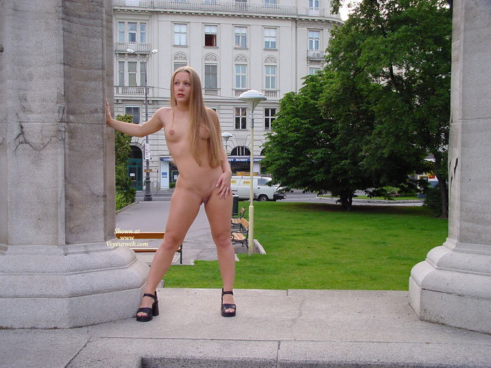 Naked Girl Standing In Public - Blonde Hair, Exhibitionist, Long Hair, Shaved Pussy, Small Breasts, Naked Girl, Nude Amateur , Black Platform Shoes, Public Show, All Naked In Public, Hand On Thigh, Nude Exhibitionist, Clunky Black Shoes