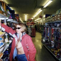 Store - Flashing , Store, Flash, Girl Showing Boobs, Dark Brown Aerolas, Red Jacket, Side View Flash, Walmart Flash