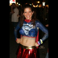 Superwoman Bodypaint - Navel Piercing , Super Paint, Super Tits, Woman Of Steel, Body Paint, Red Cape, Gold Belt
