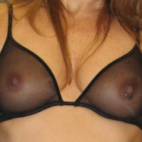Closeup Of A Sheer Bra , Sexy Nipple Piercing, Large Nipples, Sheer Black Bra