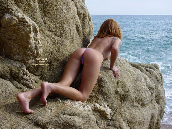 Topless On A Rocky Beach - On All Fours, Topless Outdoors, Nude Amateur , Topless On A Rocky Beach, On All Fours, Thong Bikini, Seaside Nude, Topless Outdoors, Hands And Knees, Bare Feet Topless Leaning On Rocks, Wfi On The Rocks