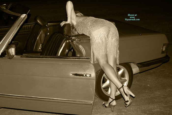 Black And White Sexy Girl - Heels, Long Legs , Bent Over Convertible Car, Bent Over A Convertable, Ankle Strap High Heels, Shapely Ass And Legs, Classic Bend Over, See Thru, Nice Legs, Bending Over