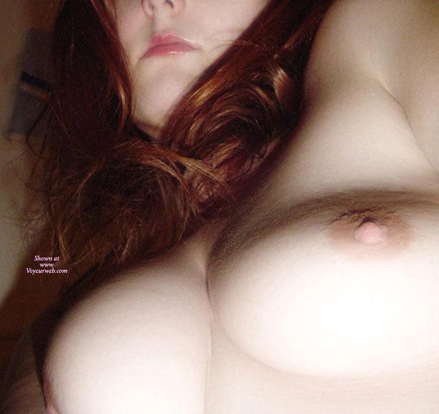 Close Up Of Breasts - Long Hair , Pink Nipples, Soft Breasts Closeup, Redhead Long Hair, Very Suckable Tit, Medium Breasts, Natural Boobs, Auburn Hair, Beautiful Breasts, Redhead, View From Below