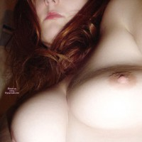 Close Up Of Breasts - Long Hair , Pink Nipples, Soft Breasts Closeup, Redhead Long Hair, Very Suckable Tit, Medium Breasts, Natural Boobs, Auburn Hair, Beautiful Breasts, Redhead, View From Below