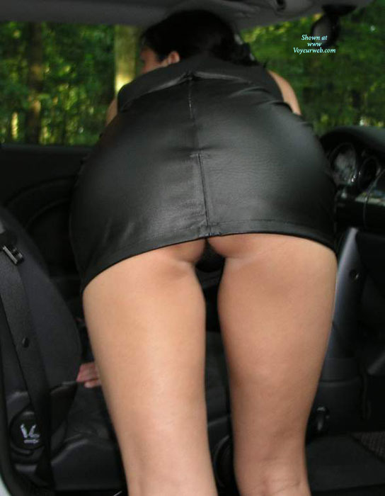 Very Short Black Leather Dress , Upskirt, Beautful Ass, Peek A Boo, Black Thong, Sexy Rear, Short Black Mini, Black Leather Mini, Bending Into Car, Leather Dress