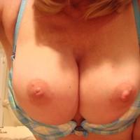 Closeup Of Tits In Bikini , Plaid Demi-cup Bra, Blue Yellow Plaid Front Clasp Bra, Tits Out